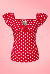 Collectif Clothing Dolores Top in Red with Polkadots 10347 02