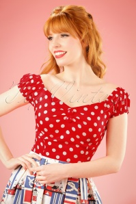 Collectif Clothing Dolores top Carmen polka red white