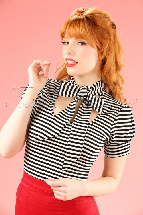 Vintage Chic Black and White Bow Striped Top 111 14 19142 20160429 1W