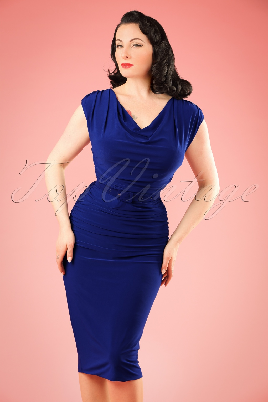 Pin Up Dresses | Pin Up Clothing TopVintage exclusive  50s Billie Pencil Dress in Royal Blue £112.20 AT vintagedancer.com