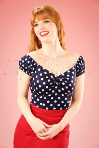 Collectif Clothing Dolores Blue Polkadot Top 11870 3W