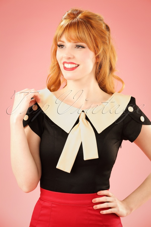 Banned 40s Frou Frou Top in Black and Creme 110 10 14172 20140907 001W
