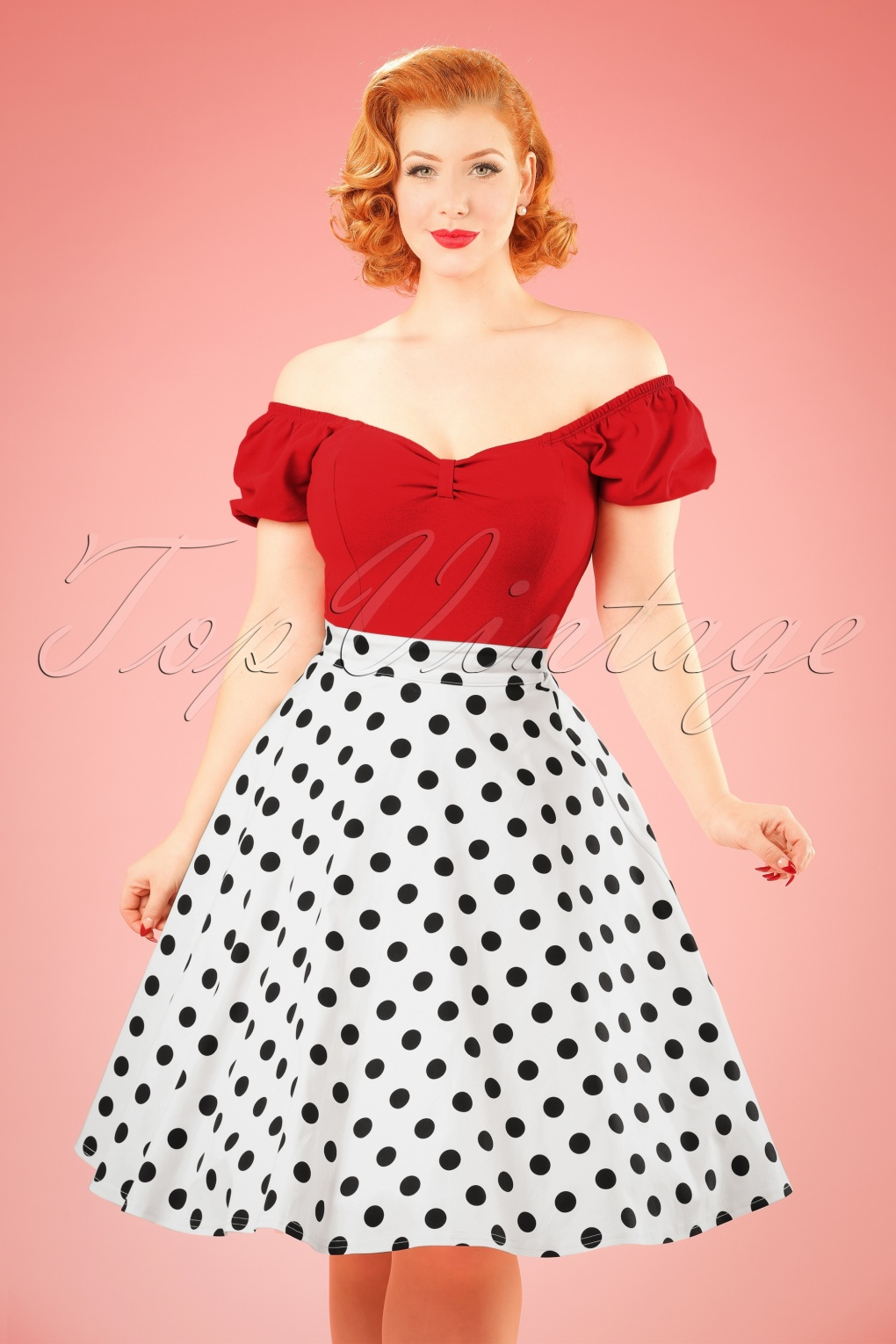 1950s Skirts; Pinup, Poodle, Pencil, Swing & Circle Skirts TopVintage Exclusive  50s Poppie Polka Dot Thrills Swing Skirt in White £61.42 AT vintagedancer.com