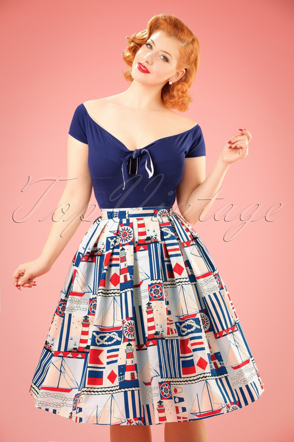 1950s Skirts; Pinup, Poodle, Pencil, Swing & Circle Skirts 50s Lighthouse Swing Skirt in Cream £30.69 AT vintagedancer.com