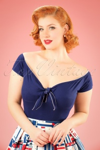 Bunny 50s Bardot Top in Navy