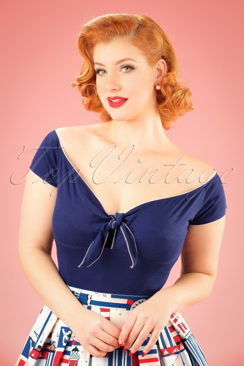 Bunny Blue Bow Bardot Sailor Top 111 31 18125 20160121 1W