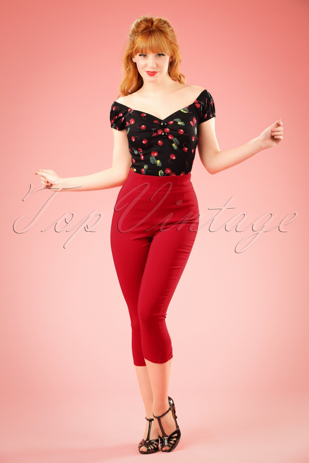 1950s Pants & Jeans- High Waist, Wide Leg, Capri, Pedal Pushers 50s Tina Capri Pants in Red £26.43 AT vintagedancer.com