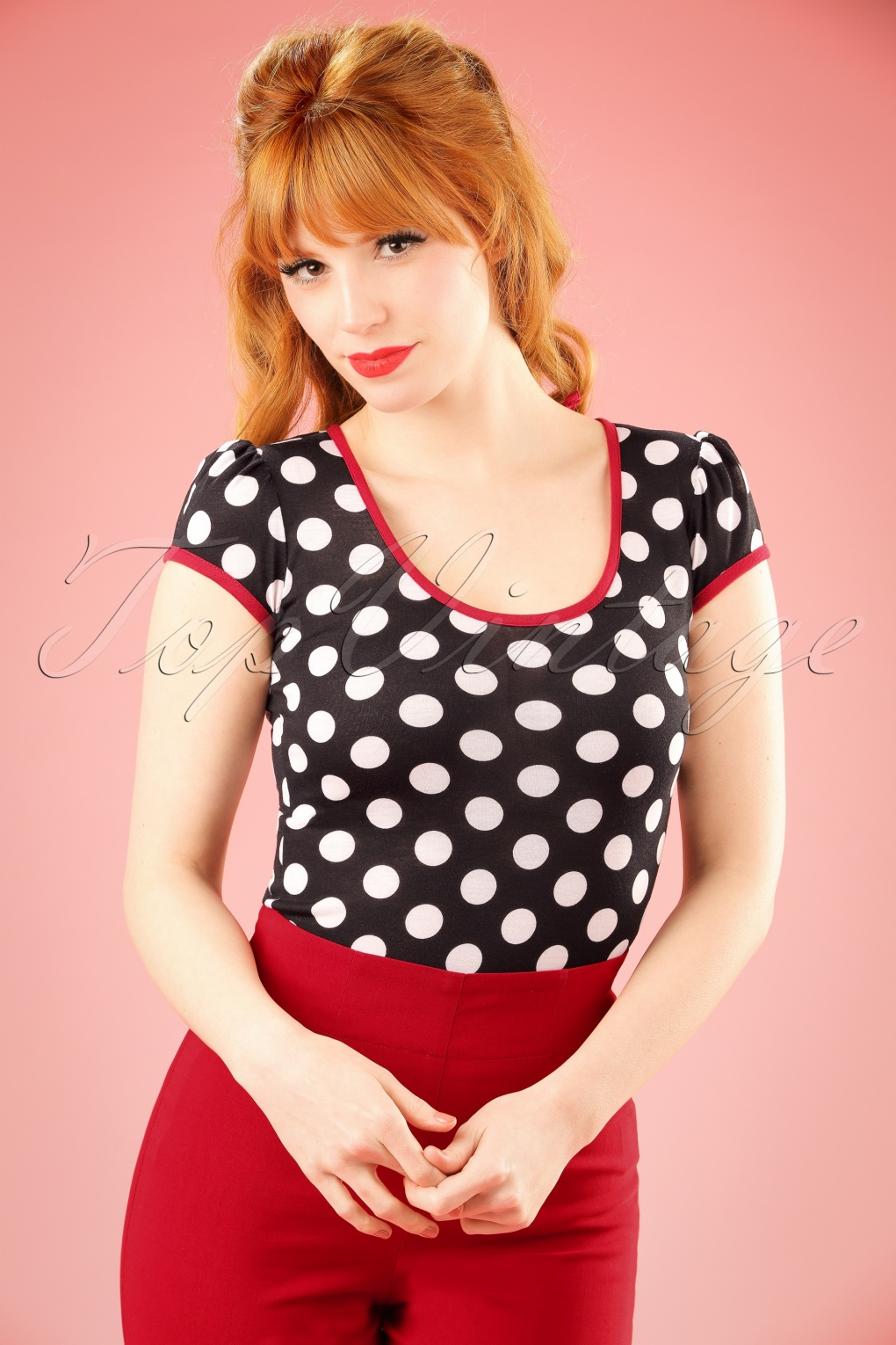 1950s Rockabilly & Pinup Tops, Shirts, Blouses 50s Robyn Polkadot Top in Black and White £33.93 AT vintagedancer.com