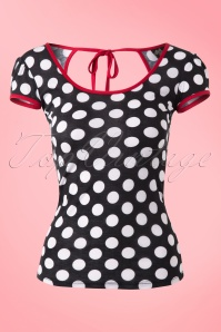 Rock Steady Clothing Robyn Top in Black and White Polkadot 110 14 14282 20150123 0005W