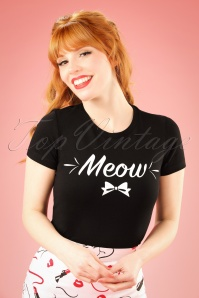 50s Meow T-Shirt in Black