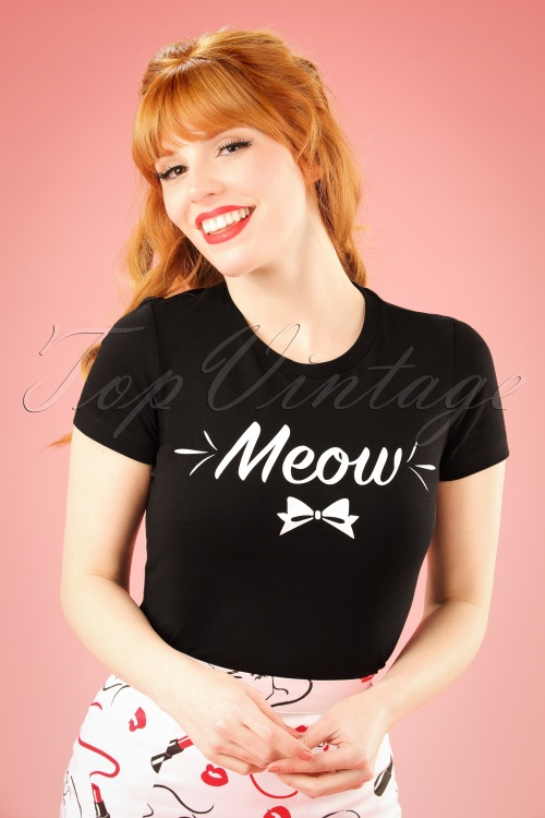 Kittees Meow Cat Black T shirt 111 10 20016 20161025 3W