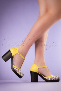 70s Jennie T-Strap Block Pumps in Yellow