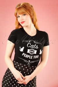 Cats Are People Too T-Shirt Années 50 en Noir
