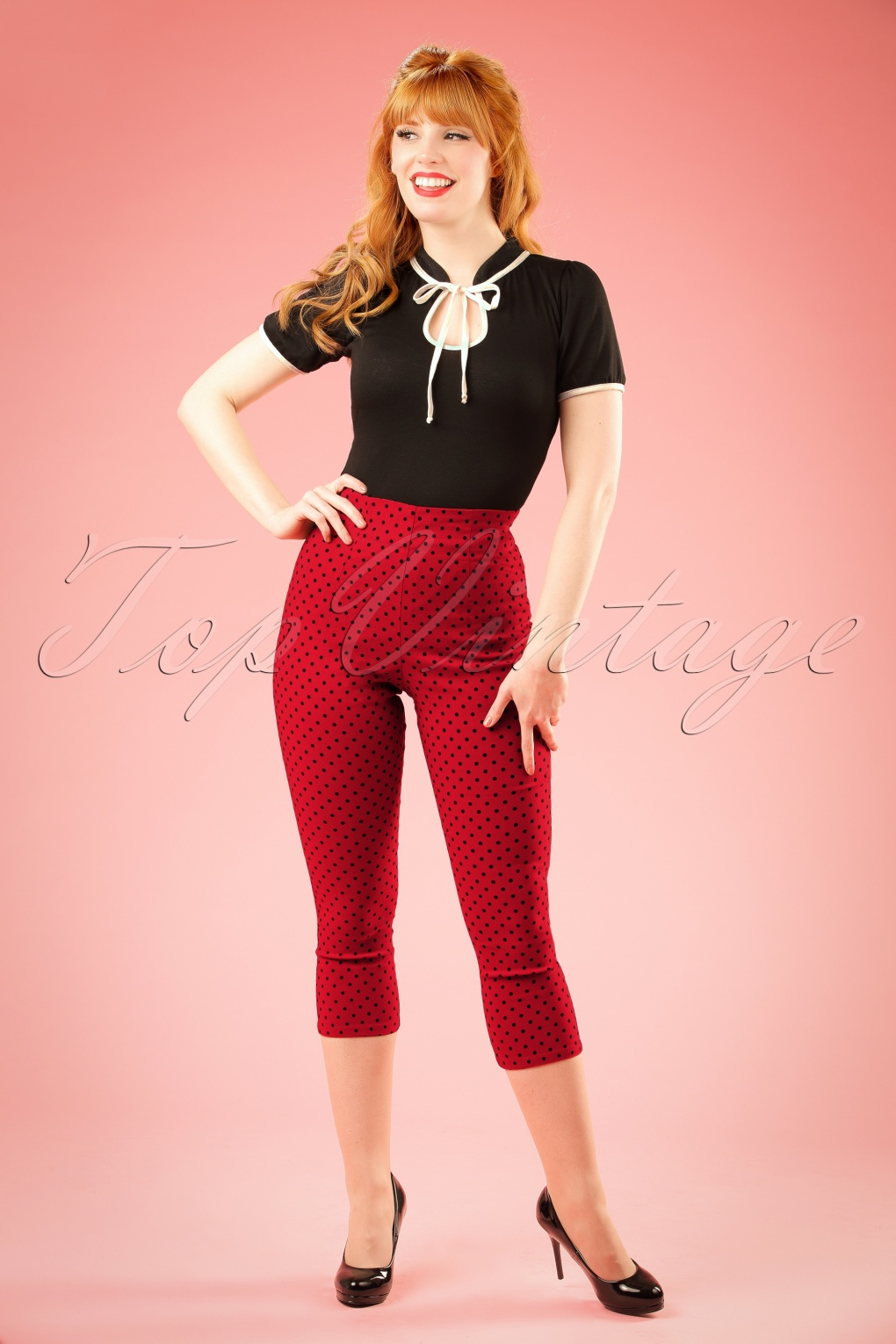 50s Kay Polkadot Capri Pants In Red