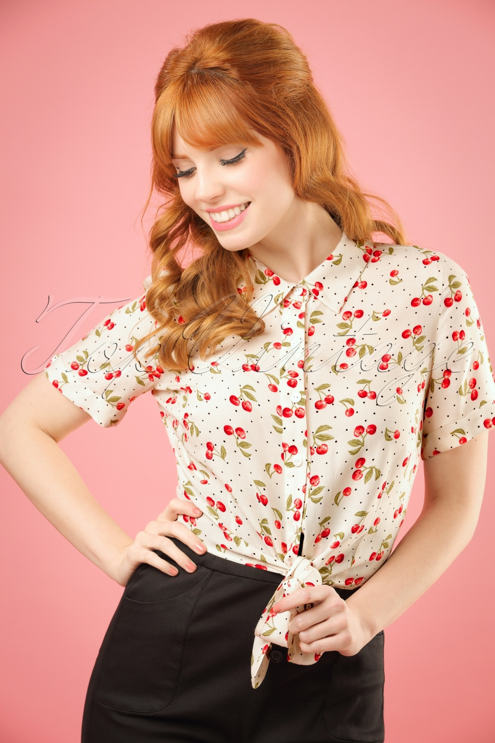 1950s Rockabilly & Pinup Tops, Shirts, Blouses 50s Sammy Cherry Tie Blouse in Ivory £30.02 AT vintagedancer.com