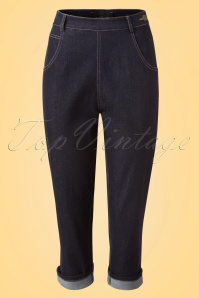 Collectif Clothing Coco Denim Capris in Navy 20656 20161201 0004w