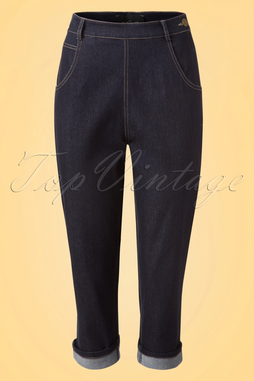 1950s Pants History for Women 50s Coco Denim Capris in Navy £47.73 AT vintagedancer.com