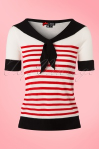 50s Coco Sailor Top in Red and Ivory