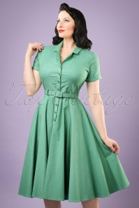Collectif Clothing Caterina Plain Swing Dress in Mint 20848 20121224 0001c