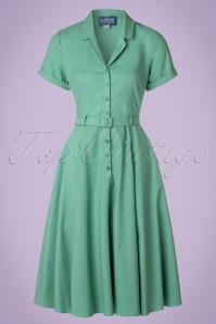 Collectif Clothing Caterina Plain Swing Dress in Mint Green 20848 20161128 0021w