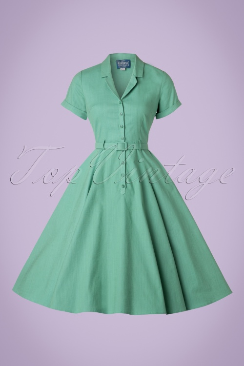Collectif Clothing Caterina Plain Swing Dress In Mint Green W Large