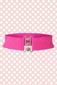 50s Lauren Retro Stretch Belt in Hot Pink