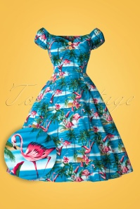 Collectif Clothing Dolores Flamingo Island Swing Dress 20698 20161129 0010W1