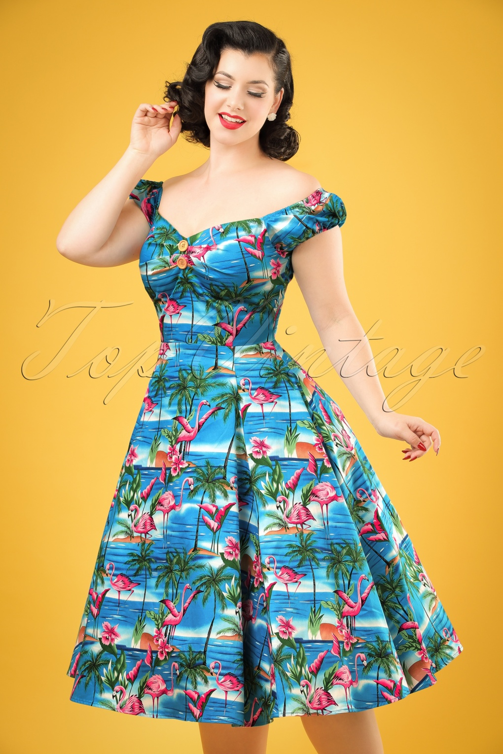 1950s Inspired Dresses, Pin Up Dresses 50s Dolores Flamingo Island Doll Dress in Blue £65.11 AT vintagedancer.com