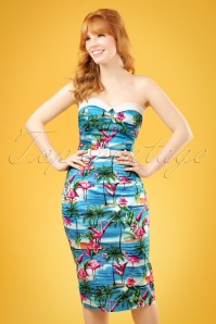 50s Monica Flamingo Island Pencil Dress in Blue