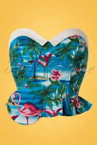 50s Ursula Flamingo Island Top in Blue