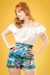 50s Ayana Flamingo Island Shorts in Blue