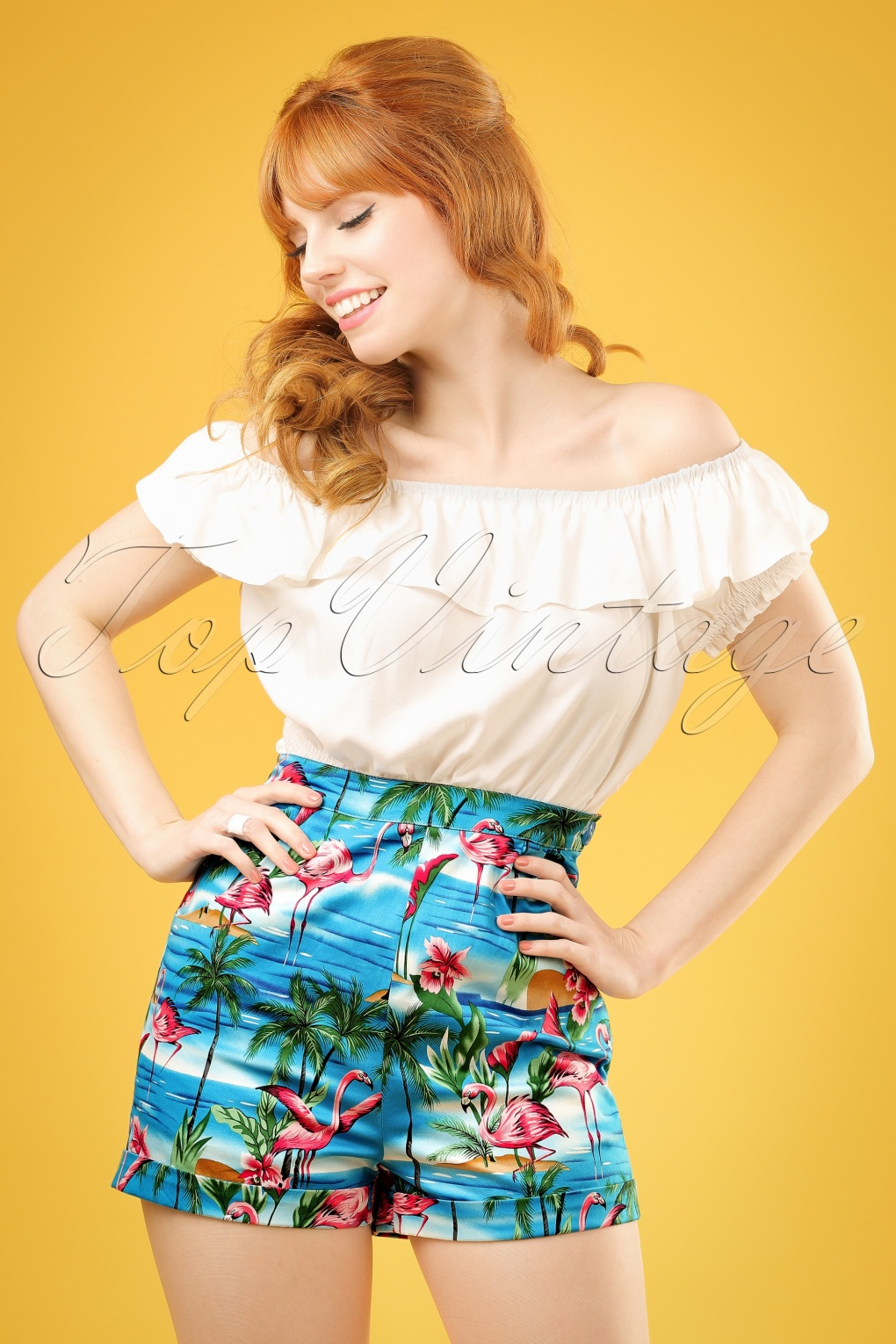 1950s Shorts 50s Ayana Flamingo Island Shorts in Blue £39.05 AT vintagedancer.com