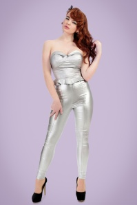Collectif Clothing Hayworth Lame Trousers in Silver 20653 20161201 0010