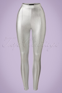 Collectif Clothing Hayworth Lame Trousers in Silver 20653 20161201 0007w