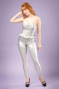 Collectif Clothing Hayworth Lame Trousers in Silver 20653 20121224 0001w