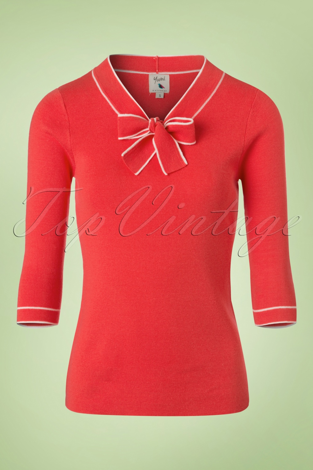Shop 1960s Style Blouses, Shirts and Tops 60s Sarah Sailor Jumper in Coral Red £59.34 AT vintagedancer.com