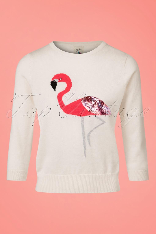 Shop 1960s Style Blouses, Shirts and Tops 60s Emma Embellished Flamingo Jumper in Ivory £60.76 AT vintagedancer.com