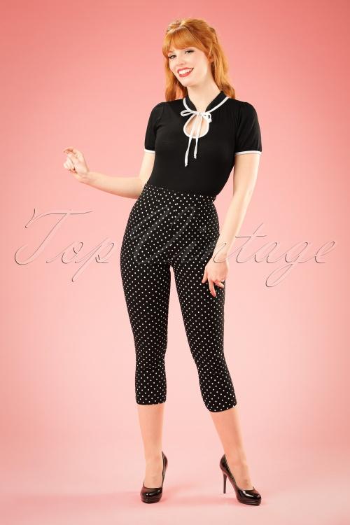 50s Kay Polkadot Capri Pants In Black