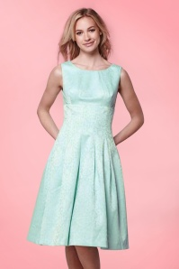 Yumi Floral Lace Panel Dress in Mint Blue 102 30 20137 20170220 0015