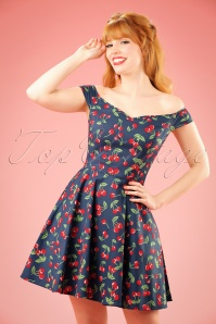 50s April Cherry Mini Dress in Midnight Blue