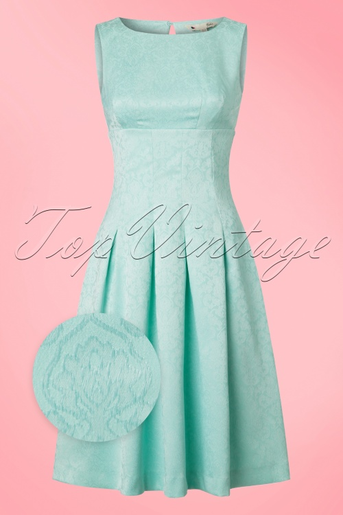 Yumi Floral Lace Panel Dress in Mint Blue 102 30 20137 20170220 0003wv