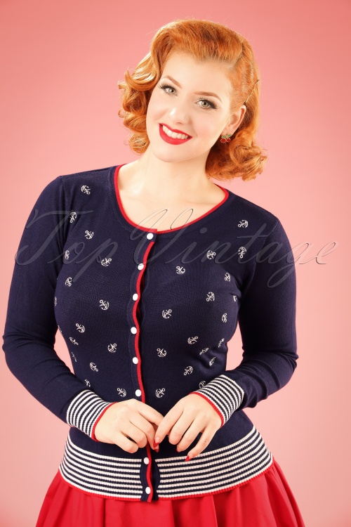 Vintage Sweaters – 1910s, 1920s, 1930s Pictures 50s Close Call Cardigan in Navy £39.00 AT vintagedancer.com