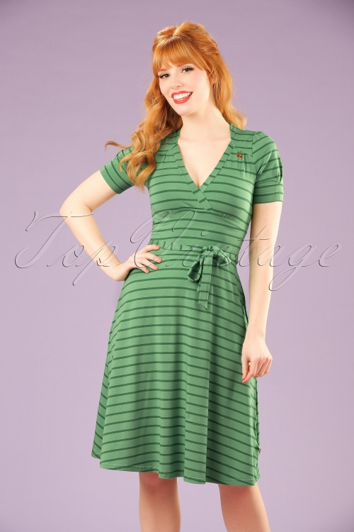 Blutsgeschwister Glazy Glade Green Striped Dress 102 49 19667 20170206 1W