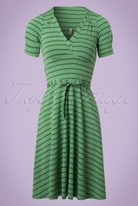 Blutsgeschwister Glazy Glade Green Striped Dress 102 49 19667 20170206 0003W