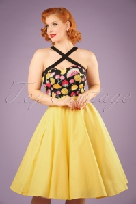 50s Paula Swing Skirt in Pastel Yellow