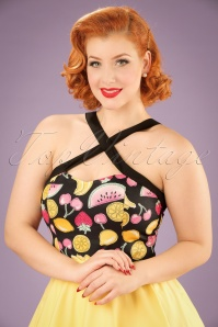 50s Tutti Frutti Top in Black