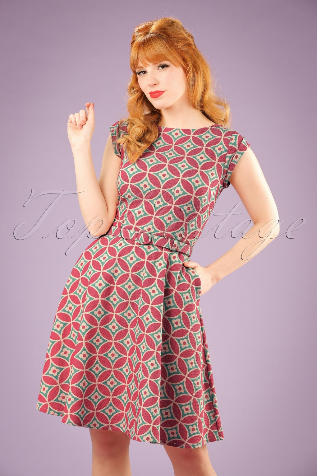 1960s Style Dresses- Retro Inspired Fashion 60s Betty Mozaik Dress in Opal and Pink £90.92 AT vintagedancer.com