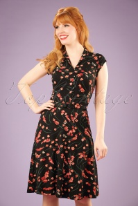 40s Emmy Fleurette Dress in Black