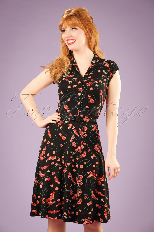 1940s Style Dresses and Clothing 40s Emmy Fleurette Dress in Black £86.82 AT vintagedancer.com