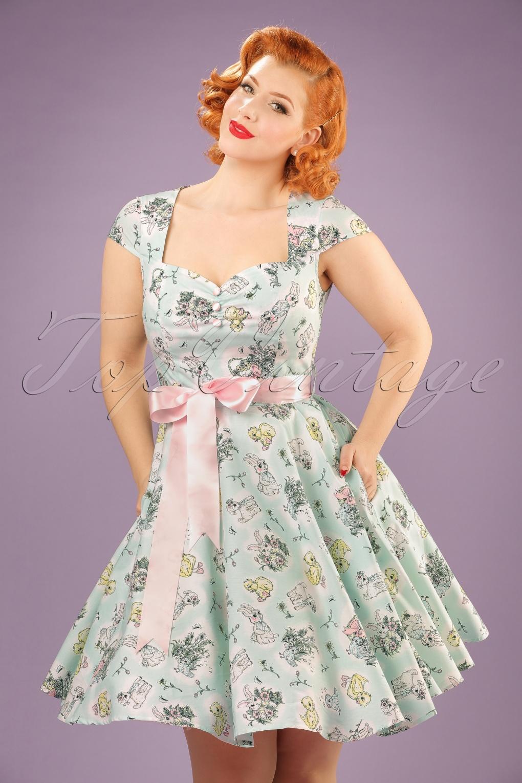 50s easter bunny swing dress in mint